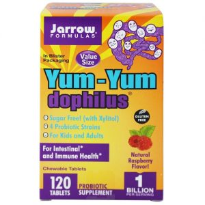 Jarrow Formulas Yum-Yum Dophilus, Framboesa - 120 Chewable Tabletes   Comprar Suplemento em Promoção Site Barato e Bom
