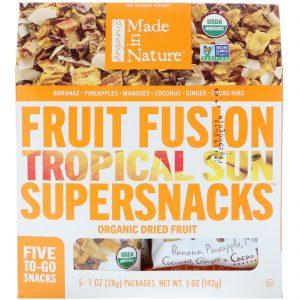 Made in Nature, Fusão de Frutas Orgânicas, Tropical Sun Supersnacks, 5 Pacotes, 28 g Cada   Comprar Suplemento em Promoção Site Barato e Bom