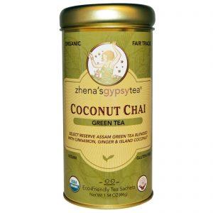Zhena's Gypsy Tea, Orgânico, Chá Verde, Chai de Côco, 22 Sachês, 1.54 oz (44 g)   Comprar Suplemento em Promoção Site Barato e Bom