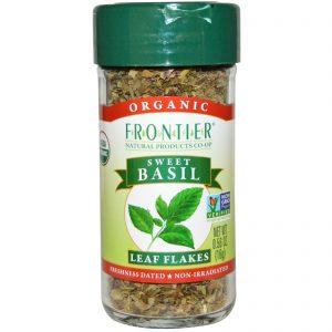Frontier Natural Products, Flocos de Folhas de Manjericão Orgânico, 0,56 onças (16 g)   Comprar Suplemento em Promoção Site Barato e Bom