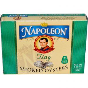 Napoleon Co., Ostras Pequenas Defumadas, 3.66 oz (106 g)   Comprar Suplemento em Promoção Site Barato e Bom