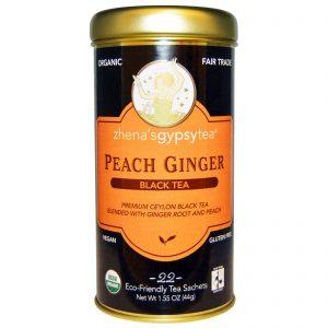 Zhena's Gypsy Tea, Orgânico, Pêssego e Gengibre, Chá Preto, 22 Sachês, 1.55 oz (44 g)   Comprar Suplemento em Promoção Site Barato e Bom