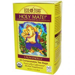 Eco Teas, Holy Mate!, Tranquilidade e Energia, Chá Mate Não Defumado com Tulsi & Hortelã-Pimenta, 24 Sachês, 1.7 oz (48 g)   Comprar Suplemento em Promoção Site Barato e Bom