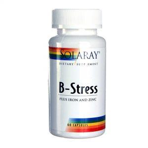 Solaray B-Estresse mais Cápsulas Vegetarianas ferro e zinco 60   Comprar Suplemento em Promoção Site Barato e Bom