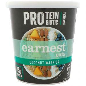 Earnest Eats, Protein Probiotic Oatmeal, Coconut Warrior, 2.5 oz (71 g)   Comprar Suplemento em Promoção Site Barato e Bom