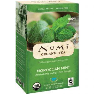 Numi Tea, Chá Orgânico, Teasan Herbal, Menta do Marrocos, Sem Cafeína, 18 Saquinhos de Chá, 1,40 oz (39,6 g)   Comprar Suplemento em Promoção Site Barato e Bom