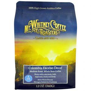 Mt. Whitney Coffee Roasters, Descafeinado Excelso da Colômbia, Grão de Café Integral, Tostagem Média, 12 oz (340 g)   Comprar Suplemento em Promoção Site Barato e Bom