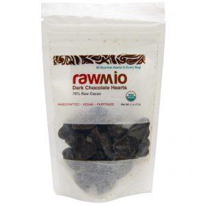 Rawmio, Corações de Chocolate Amargo, 2 oz (57 g)   Comprar Suplemento em Promoção Site Barato e Bom