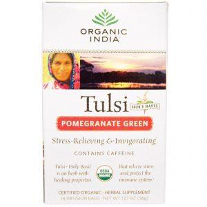 Organic India, Chá de Manjericão Sagrado Tulsi, Romã Verde, 18 Saquinhos para Infusão, 1,27 oz (36 g)   Comprar Suplemento em Promoção Site Barato e Bom