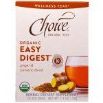 Choice Organic Teas, Orgânico, Digestão Fácil, Mistura de Gengibre e Cúrcuma, Sem Cafeína, 16 Sachês, 1.1 oz (32 g)   Comprar Suplemento em Promoção Site Barato e Bom