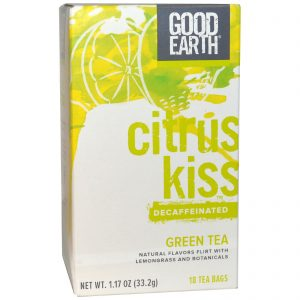 Good Earth Teas, Beijo Cítrico, Chá Verde Descafeinado, Capim-limão, 18 Pacotes de Chá, 1,17 oz (33,2 g)   Comprar Suplemento em Promoção Site Barato e Bom