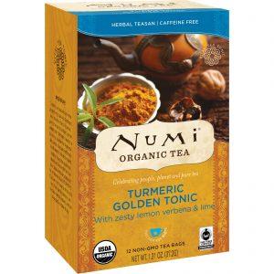 Numi Tea, Organic Tea, Herbal Teasan, Turmeric Golden Tonic, Caffeine Free, 12 Tea Bags, 1.31 oz (37.2 g)   Comprar Suplemento em Promoção Site Barato e Bom