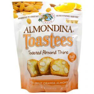 Almondina, Torradinhas, Finos de Amêndoa Torradas, Coco Laranja e Amêndoa, 5,25 oz (149 g)   Comprar Suplemento em Promoção Site Barato e Bom