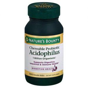 Nature's Bounty Chewable Probiotic Acidophilus Strawberry - 100 Wafers Mastigáveis   Comprar Suplemento em Promoção Site Barato e Bom