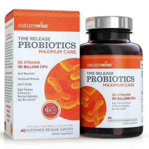 NatureWise Maximum Care Probiotics Time-Release Probiotics 30 Billion CFU 40 Caplets   Comprar Suplemento em Promoção Site Barato e Bom