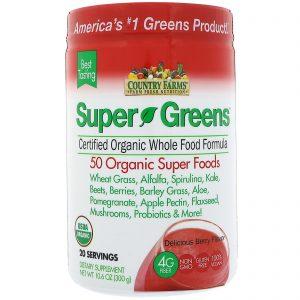 Country Farms, Super Verdes, Fórmula Certificadamente Orgânica de Alimentos Integrais, Sabor Delicioso de Frutas, 10,6 oz (300 g)   Comprar Suplemento em Promoção Site Barato e Bom