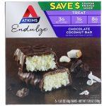 Atkins, Endulge, Barrinha de Coco e Chocolate, 5 Barrinhas, 1,41 oz (40 g) Cada   Comprar Suplemento em Promoção Site Barato e Bom