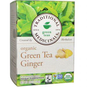 Traditional Medicinals, Chá Verde Orgânico com Gengibre, 16 Pacotes de Chá Embalados, 0,85 oz (24 g)   Comprar Suplemento em Promoção Site Barato e Bom