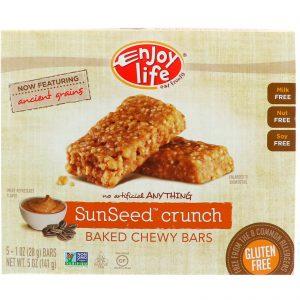 Enjoy Life Foods, Baked Chewy Bars, SunSeed Crunch, 5 Bars, 1 oz (28 g) Each   Comprar Suplemento em Promoção Site Barato e Bom