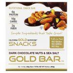 California Gold Nutrition, Barra Dourada, Barra de Chocolate Amargo com Nozes e Sal Marinho, 12 Barras, 1,4 oz (40 g) Cada   Comprar Suplemento em Promoção Site Barato e Bom