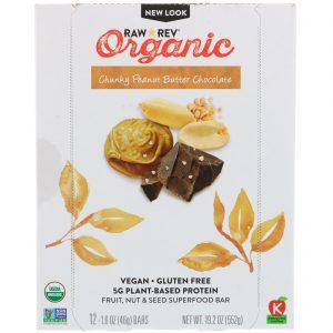 Raw Revolution, Organic, Chunky Peanut Butter Chocolate, 12 Bars, 1.6 oz (46 g) Each   Comprar Suplemento em Promoção Site Barato e Bom