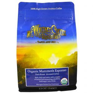 Mt. Whitney Coffee Roasters, Expresso colossal orgânico, café moído, torra escura, 12 oz. (340 g)   Comprar Suplemento em Promoção Site Barato e Bom