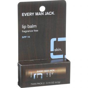 Every Man Jack Lip Balm - Fragrance Free - Spf 15 - Twin Pack - 2 Count - .15 Oz   Comprar Suplemento em Promoção Site Barato e Bom