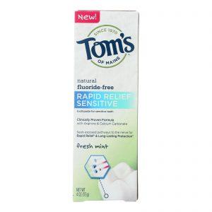 Tom's Of Maine Rapid Relief Sensitive Toothpaste - Fresh Mint, Fluoride-free - Case Of 6 - 4 Oz.   Comprar Suplemento em Promoção Site Barato e Bom