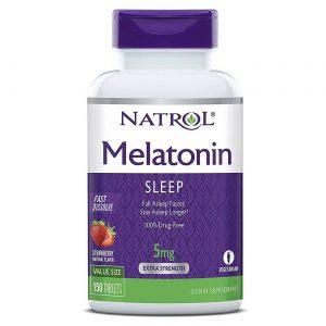 Natrol Melatonina, morango - 5 mg - 150 Tabletes de dissolução rápida   Comprar Suplemento em Promoção Site Barato e Bom
