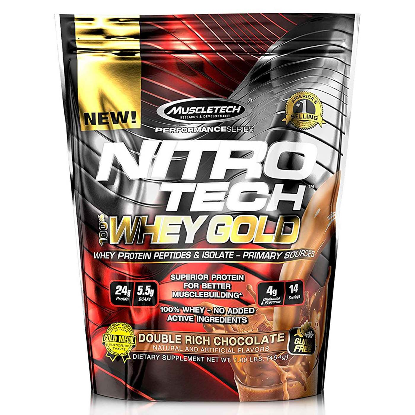f9639d569 MuscleTech Nitro Tech 100% Whey Gold Sabor Duplo de Chocolate- 1 lb  454g