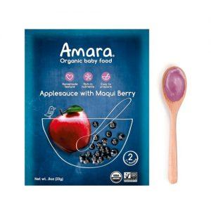 Amara Organic Baby Food Applesauce with Maqui Berry -- 5 Pouches   Comprar Suplemento em Promoção Site Barato e Bom