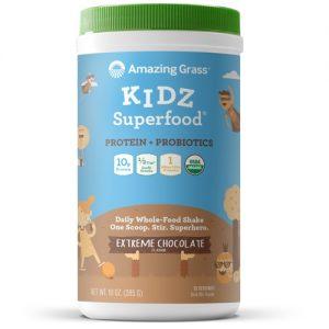 Amazing Grass Kidz Superfood® Protein + Probiotics Drink Mix Powder Extreme Chocolate -- 15 Servings   Comprar Suplemento em Promoção Site Barato e Bom