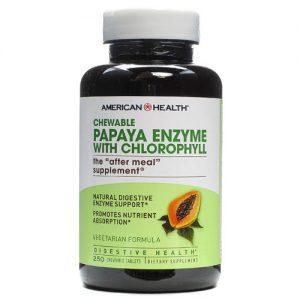 American Health Papaya Enzyme with Chlorophyll Chewable -- 250 Chewable Tablets   Comprar Suplemento em Promoção Site Barato e Bom