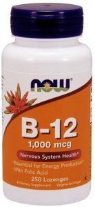 NOW, Vitamin B-12, 1000 mcg, with Folic Acid, 250 Chewable Lozenges,   Comprar Suplemento em Promoção Site Barato e Bom
