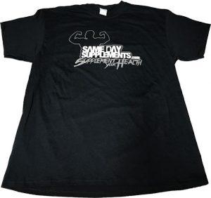 SameDaySupplements Black T-Shirt, With Silver Logo   Comprar Suplemento em Promoção Site Barato e Bom