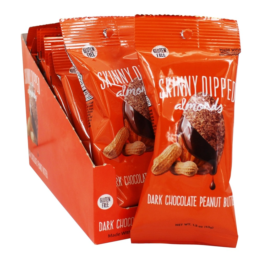Gluten Free Almonds Box Dark Chocolate Peanut Butter   10 Bags by Skinny Dipped