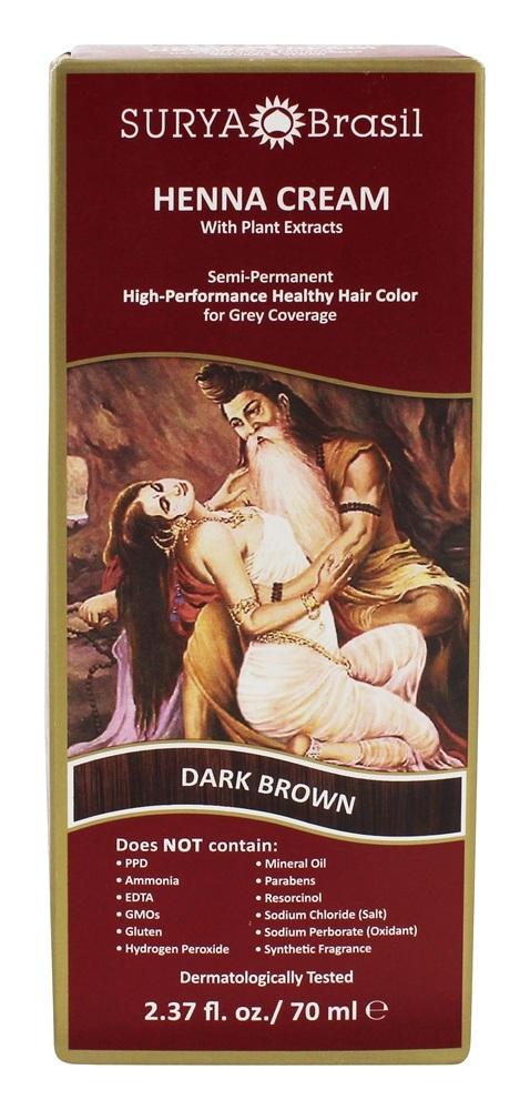 Henna Cream Hair Coloring Dark Brown   2.37 fl. oz. by Surya Brasil