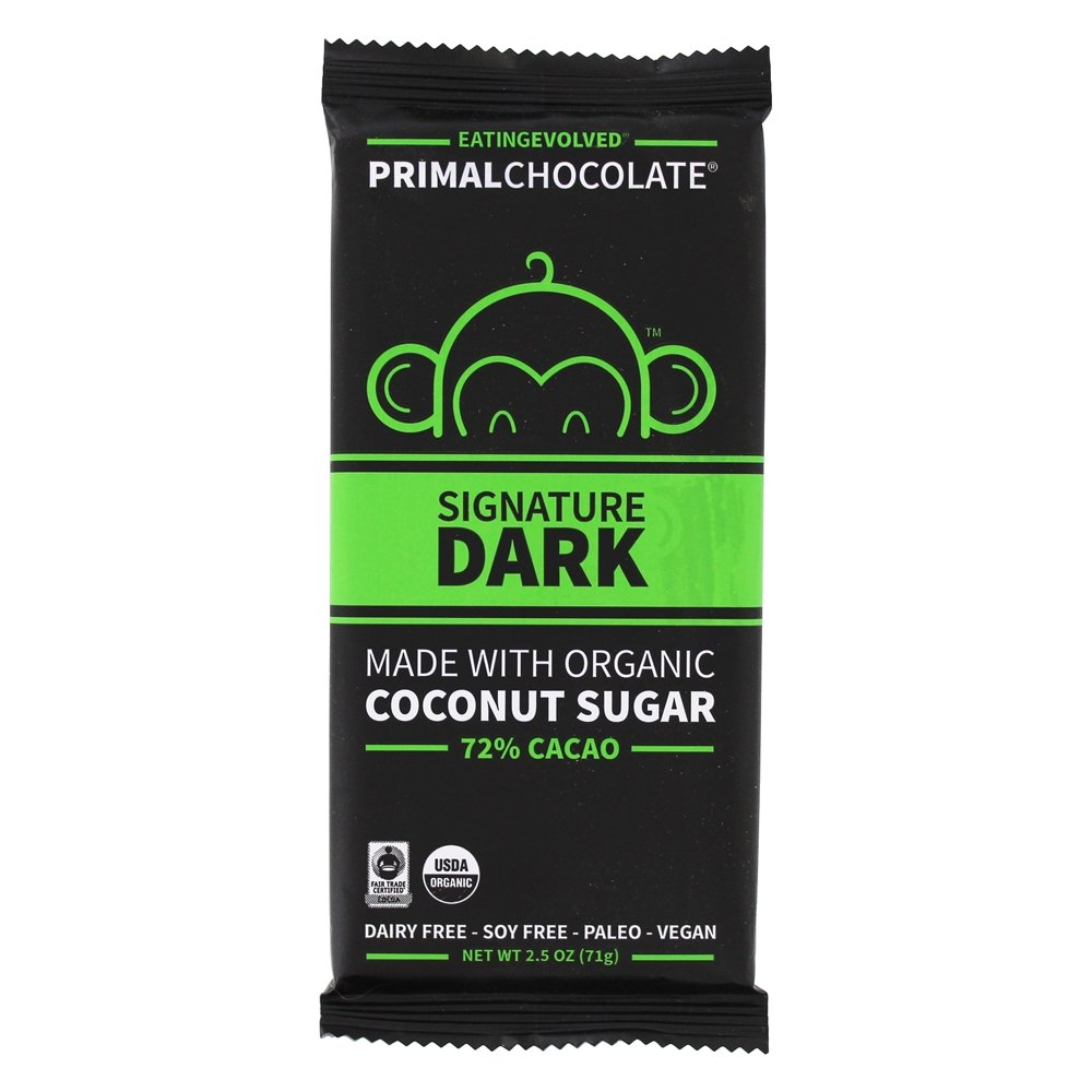 Organic Primal Chocolate Bar 72% Cacao Signature Dark   2.5 oz. by Eating Evolved