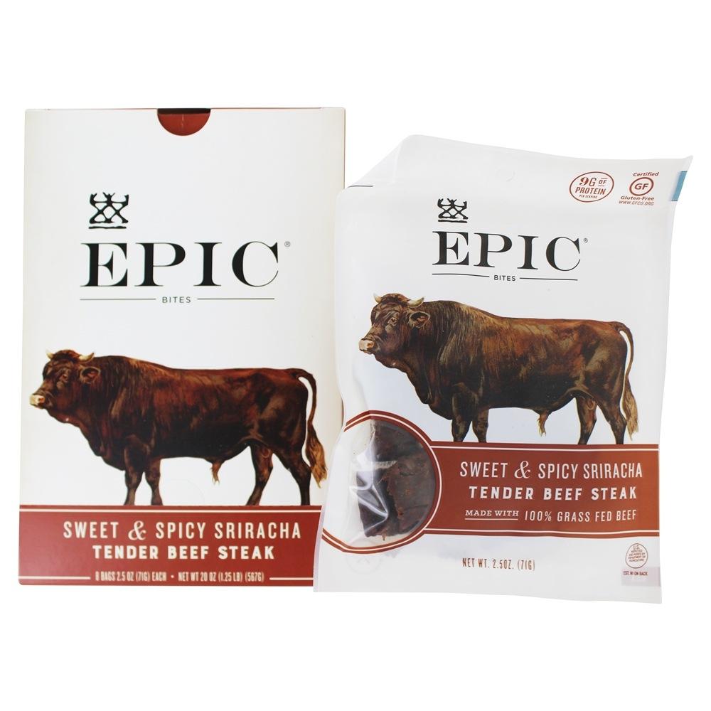 Tender Beef Steak Bites Sweet & Spicy Sriracha   8 Bags by EPIC