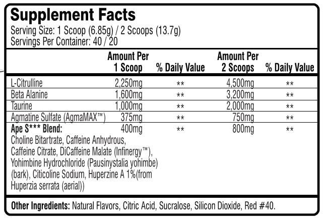 Ape Shit Pre Workout by Untamed Labs, Pink Lemonade, 40 Servings   Comprar Suplemento em Promoção Site Barato e Bom